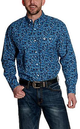Wrangler George Strait Navy with Blue Paisley Print Relaxed Long Sleeve Western Shirt