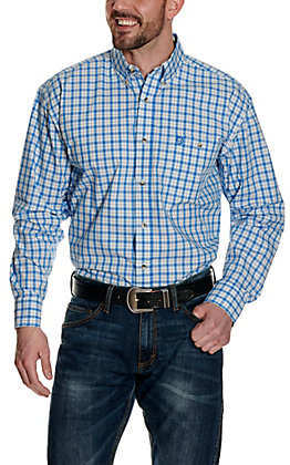 Wrangler George Strait Blue and Turquoise Plaid Relaxed Long Sleeve Western Shirt