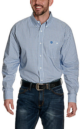Wrangler George Strait Blue Plaid Relaxed Long Sleeve Western Shirt