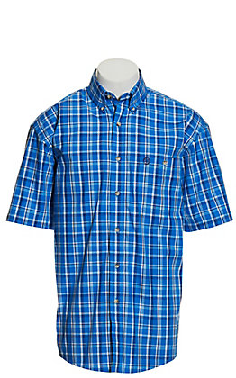 Wrangler George Strait Men's Blue and White Plaid Short Sleeve Western Shirt