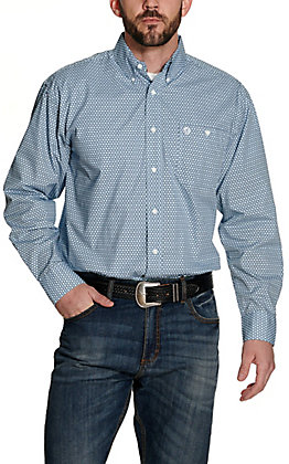 Wrangler George Strait Men's Light Blue and Navy Geo Print Relaxed Long Sleeve Western Shirt