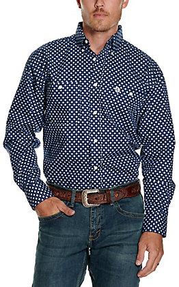 Wrangler George Strait Men's Navy with Light Blue Flower Print Relaxed Long Sleeve Western Shirt