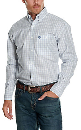 Wrangler George Strait Men's White with Multi Blue Plaid Relaxed Long Sleeve Western Shirt