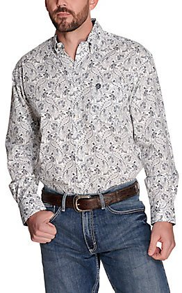 Wrangler George Strait Men's White with Navy Paisley Print Relaxed Long Sleeve Western Shirt