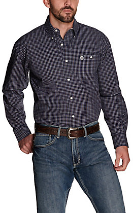 Wrangler George Strait Men's Navy Plaid Performance Relaxed Long Sleeve Western Shirt