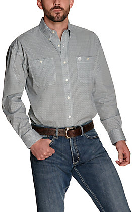 Wrangler George Strait Men's White with Green and Navy Diamond Print Relaxed Long Sleeve Western Shirt