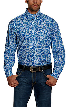 Wrangler George Strait Men's Blue Paisley Print Long Sleeve Western Shirt - Big & Tall