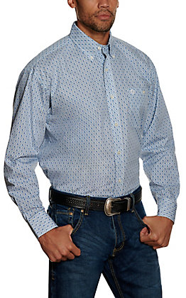 Wrangler George Strait Men's Blue Geo Print Long Sleeve Western Shirt