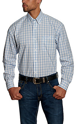 Wrangler George Strait Men's Blue Plaid Long Sleeve Western Shirt