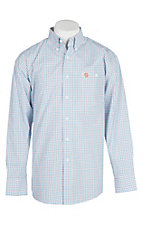 George Strait by Wrangler Men's Orange, Blue & White Checker Print Western Shirt