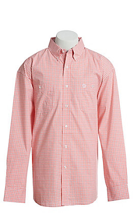George Strait by Wrangler Men's Coral And White Plaid Long Sleeve Western Shirt
