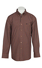 Wrangler George Strait Men's Brown Plaid Print Western Shirt
