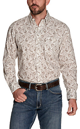 Wrangler George Strait Men's White with Brown Paisley Print Relaxed Long Sleeve Western Shirt