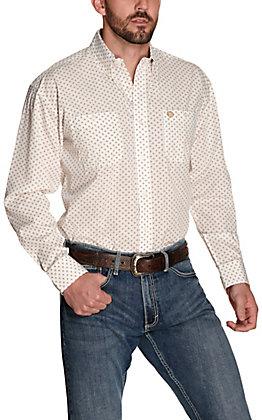 Wrangler George Strait Men's White with Khaki and Burgundy Geo Print Relaxed Long Sleeve Western Shirt