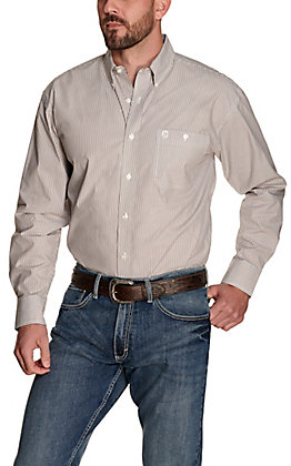 Wrangler George Strait Men's White and Brown Stripes Performance Relaxed Long Sleeve Western Shirt