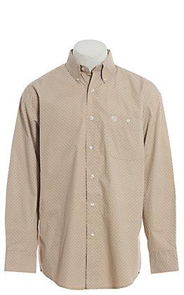 George Strait by Wrangler Men's Tan Geo Print Long Sleeve Western Shirt