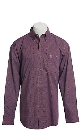 George Strait by Wrangler Men's Burgundy Geo Print Long Sleeve Western Shirt - Big & Tall