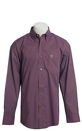 George Strait by Wrangler Men's Burgundy Geo Print Long Sleeve Western Shirt