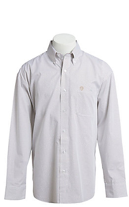 George Strait by Wrangler Men's White Geo Print Long Sleeve Western Shirt
