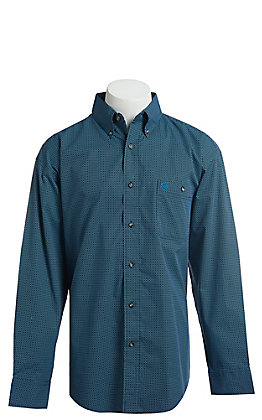 George Strait by Wrangler Men's Black And Blue Geo Print Long Sleeve Western Shirt