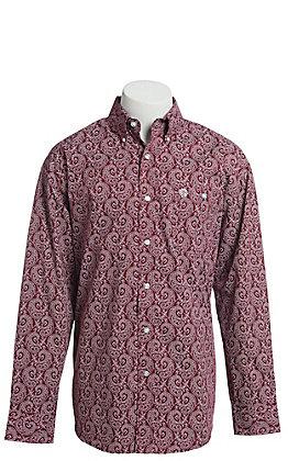 George Strait by Wrangler Men's Burgundy Paisley Print Long Sleeve Western Shirt