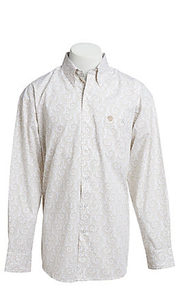 George Strait by Wrangler Men's White With Tan Paisley Print Long Sleeve Western Shirt