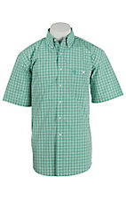 George Strait by Wrangler S/S Mens Green and White Plaid Shirt - Big & Tall