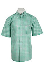 George Strait by Wrangler S/S Mens Green and White Plaid Shirt