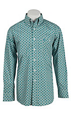 George Strait by Wrangler L/S Men's Green and Blue Print Shirt - Big & Tall