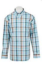 George Strait by Wrangler L/S Men's Turquoise and White Plaid Western Shirt Big & Tall