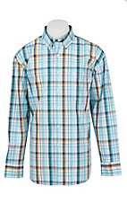 George Strait by Wrangler L/S Men's Blue and Grey Plaid Western Shirt