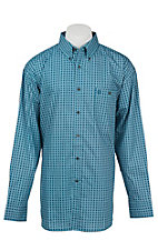 George Strait by Wrangler L/S Men's Turquoise Mini Print Western Shirt