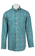 George Strait by Wrangler L/S Men's Turquoise Paisley Print Western Shirt - Big & Tall