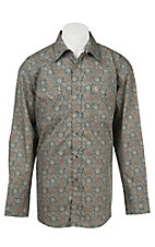 George Strait by Wrangler L/S Men's Green and Navy Medallion Print Western Shirt - Big & Tall
