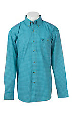 George Strait by Wrangler L/S Men's Green and Blue Circle Print Western Shirt