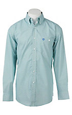 George Strait by Wrangler L/S Men's Green and White Circle Print Western Shirt - Big & Tall