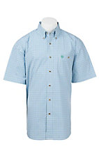 George Strait by Wrangler Men's Blue, Green, and White Grid Plaid S/S Western Shirt - Big & Tall