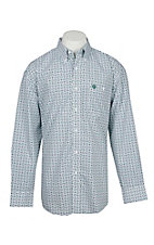 George Straight by Wrangler Men's White w/ Blue and Green Circle Diamond Print L/S Western Shirt