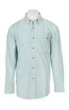 George Strait by Wrangler Men's Green Plaid Long Sleeve Western Shirt