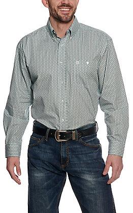 George Strait by Wrangler Men's Green Geo Print Long Sleeve Western Shirt