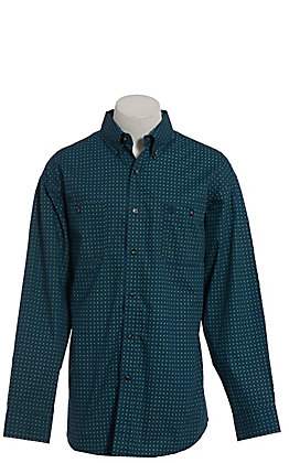 George Strait by Wrangler Men's Green Geo Print Long Sleeve Western Shirt