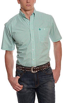 Wrangler George Strait Men's White and Teal Starburst Short Sleeve Western Shirt
