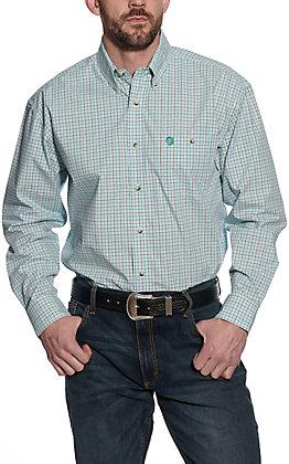 Wrangler George Strait Men's Teal Plaid Long Sleeve Western Shirt