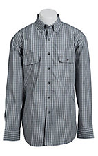 George Straight Cowboy Cut Collection by Wrangler Men's Blue and Grey Plaid Shirt