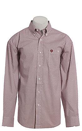 George Strait by Wrangler Men's Burgundy & Cream Geo Print Long Sleeve Western Shirt - Big & Tall