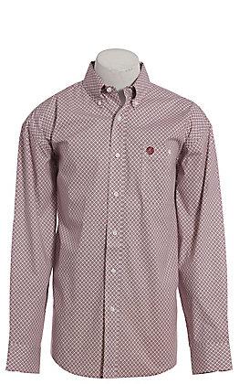George Strait by Wrangler Men's Burgundy & Cream Geo Print Long Sleeve Western Shirt