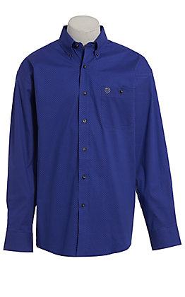 George Strait by Wrangler Men's Blue Geo Print Long Sleeve Western Shirt