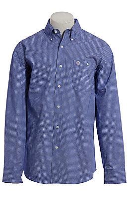 George Strait by Wrangler Cavender's Exclusive Men's Navy Geo Print Long Sleeve Western Shirt - Big & Tall