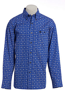 George Strait by Wrangler Cavender's Exclusive Men's Blue Bandana Print Long Sleeve Western Shirt - Big & Tall