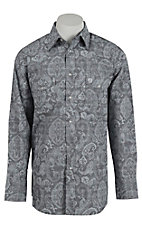 George Strait by Wrangler L/S Men's Grey Paisley Print Shirt